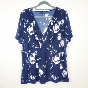 🆕️ Chaps | Navy and White Floral Wrap Blouse